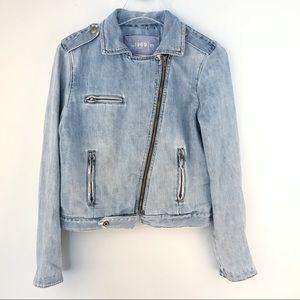 GAP Denim Jean Moto Jacket Cross Zip Size Medium